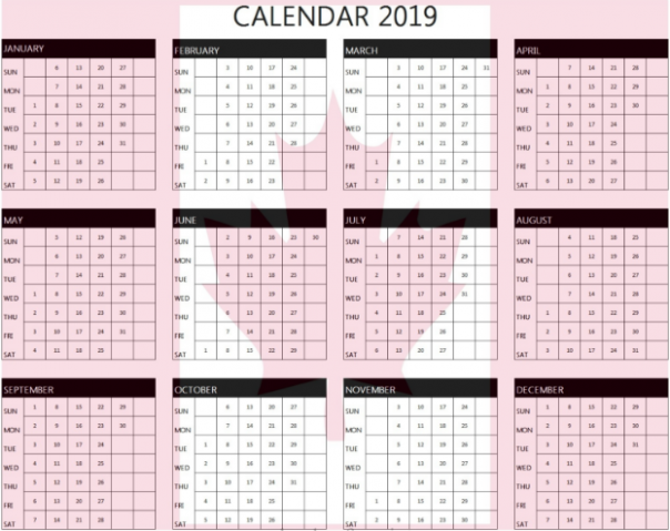 20 Printable Yearly Blank Calendar with Canada Holidays PDF ..