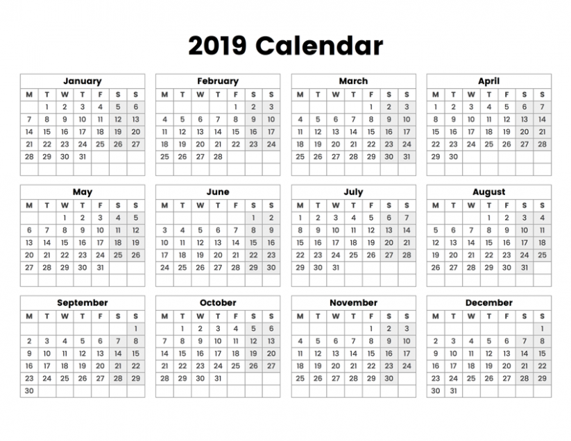 20 Year Calendar With The Week Starting On Monday – Week Of Year Calendar 2019