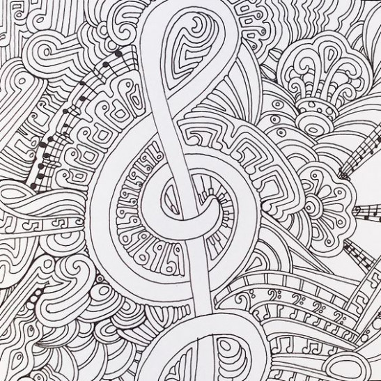 A musical page from Color Me Happy, part of the Zen Coloring book ..
