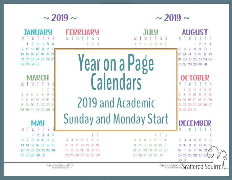 Academic and 18 Year on a Page Calendar Printables – Scattered ..
