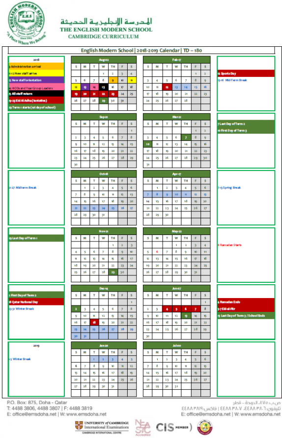 Academic Calendar 18-18 | English Modern School Doha – Calendar For Year 2019 Qatar