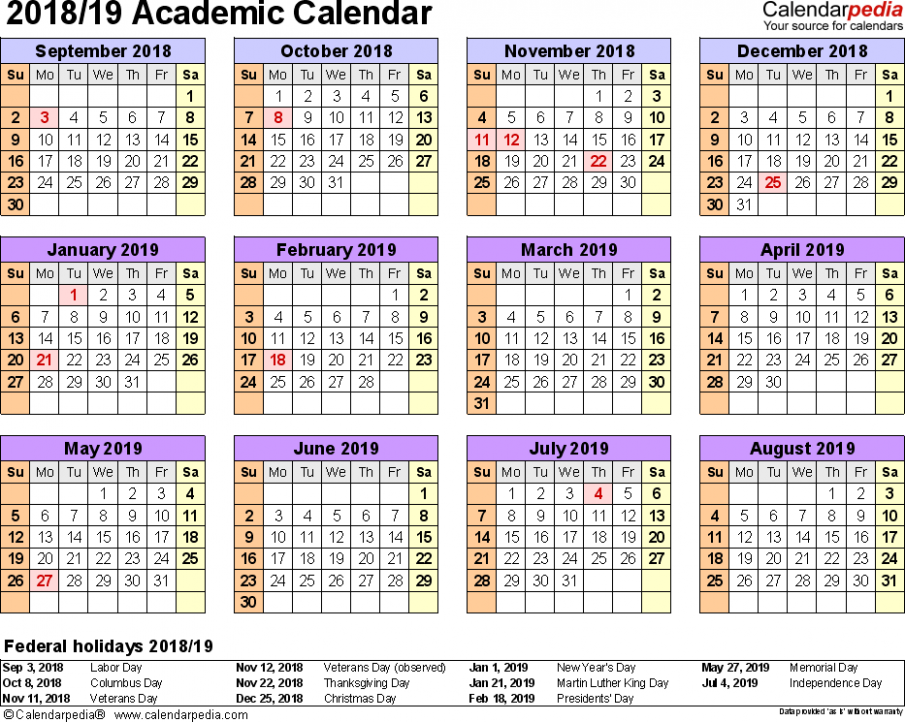 Academic calendars 18/18 – free printable Excel templates – 2019 School Year Calendar Template