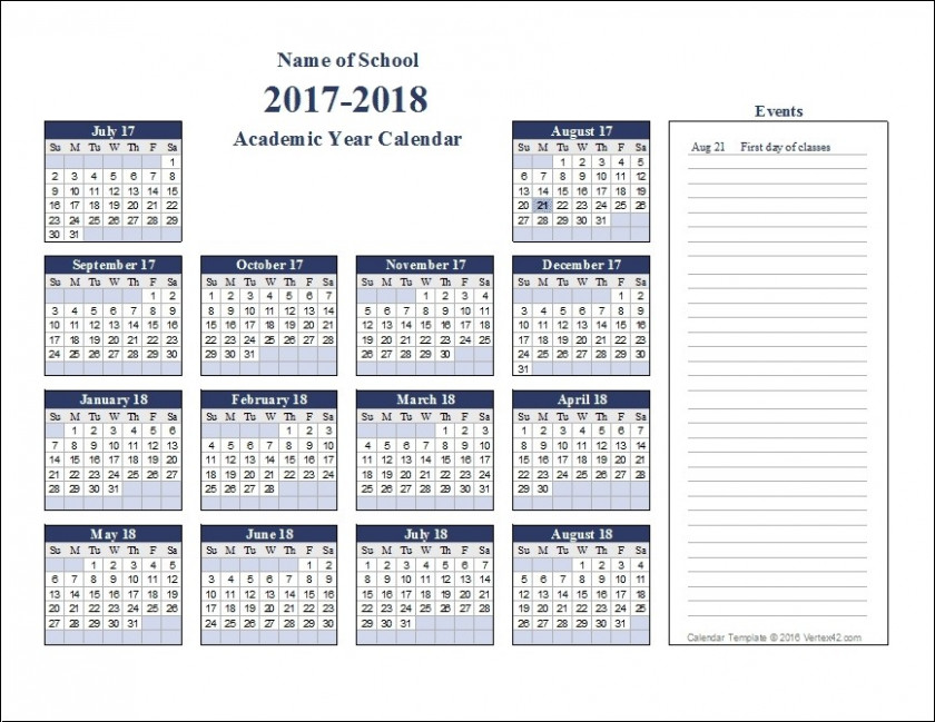 academic year calendar 18 with school calendars 18 from august ...