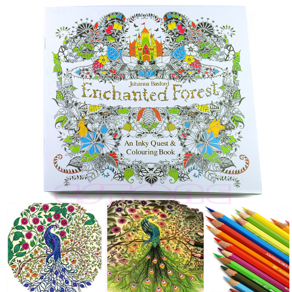 An Inky Enchanted Forest Treasure Hunt and Coloring Book By Johanna ...