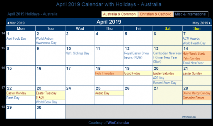April 19 Calendar with Holidays – Australia – Year 2019 Calendar Australia