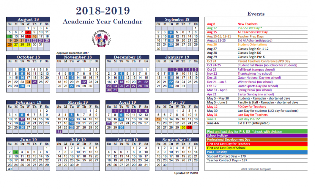ASD Calendar 18-18 – American School of Doha | International ..