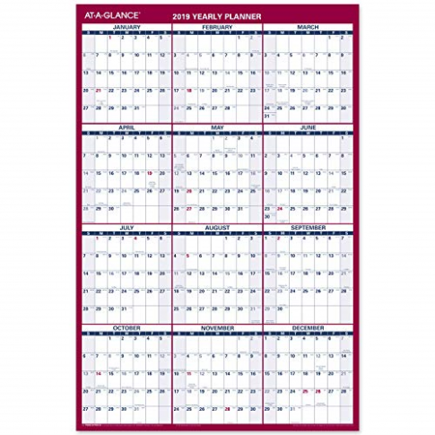 AT-A-GLANCE 15 Yearly Wall Calendar 15″ X 15″ Large Erasable Dry ..