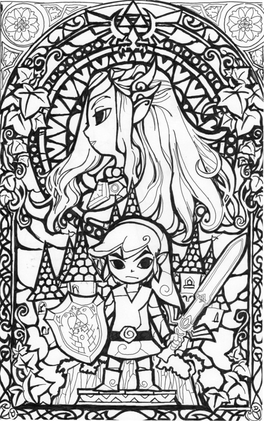 awesome stained glass Zelda coloring page! Gonna try this in ..