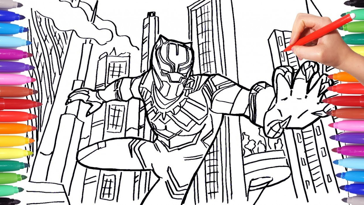 BLACK PANTHER Coloring Pages | Draw and Color Marvel Superheroes ..