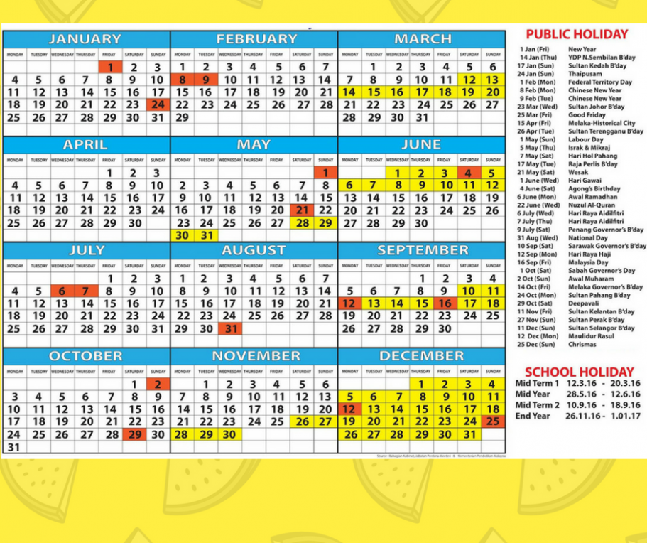 Blank Yearly School Holidays 14 Calendar UK, USA, QLD, NZ, England ...