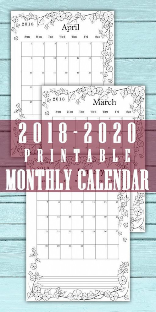 Calendar 17, 17, 17. Month per page. Monthly planner. Digital ...