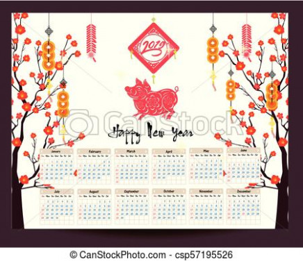Calendar 17 chinese calendar for happy new year 17 year of the pig.