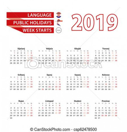 Calendar 17 in croatian language with public holidays the country ..