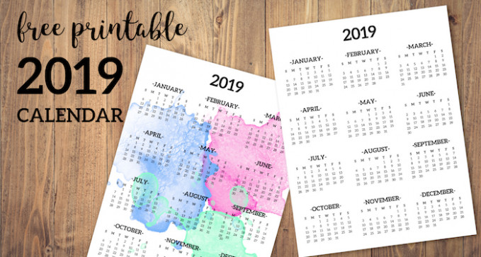 Calendar 19 Printable One Page – Paper Trail Design – 2019 Calendar Year To A Page