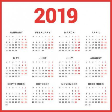 Calendar For 20 Year On White Background. Week Starts Monday ..