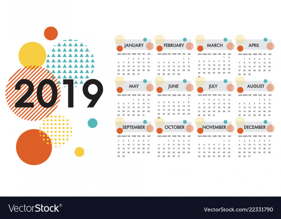 Calendar for the year 13 white design Royalty Free Vector – 2019 Calendar By Year