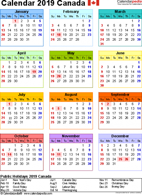 Canada Calendar 12 Free Word Calendar Templates | Great Things To ..