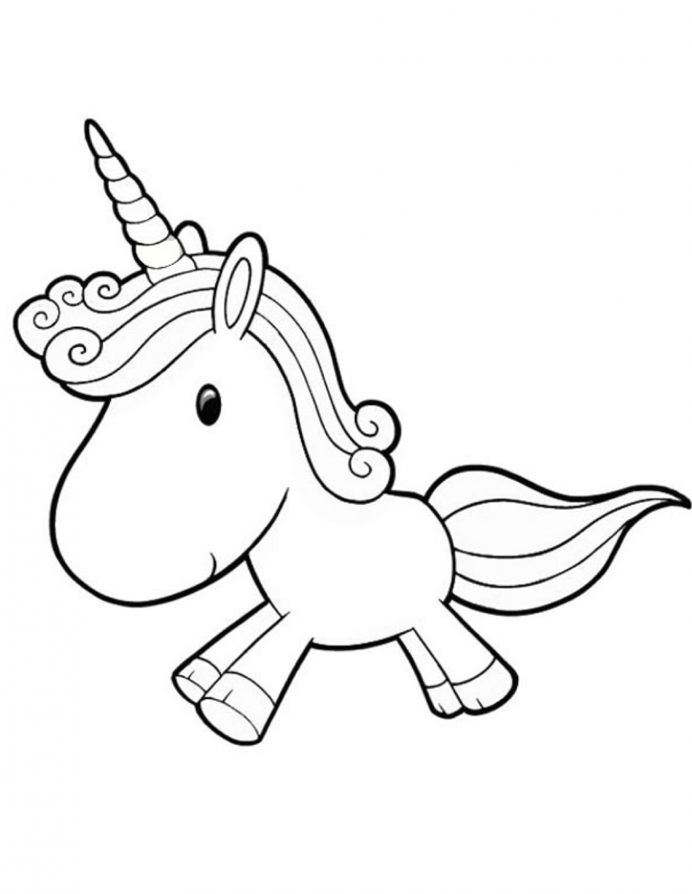 Cartoon Unicorn Coloring Page coloring page  - unicorn coloring book