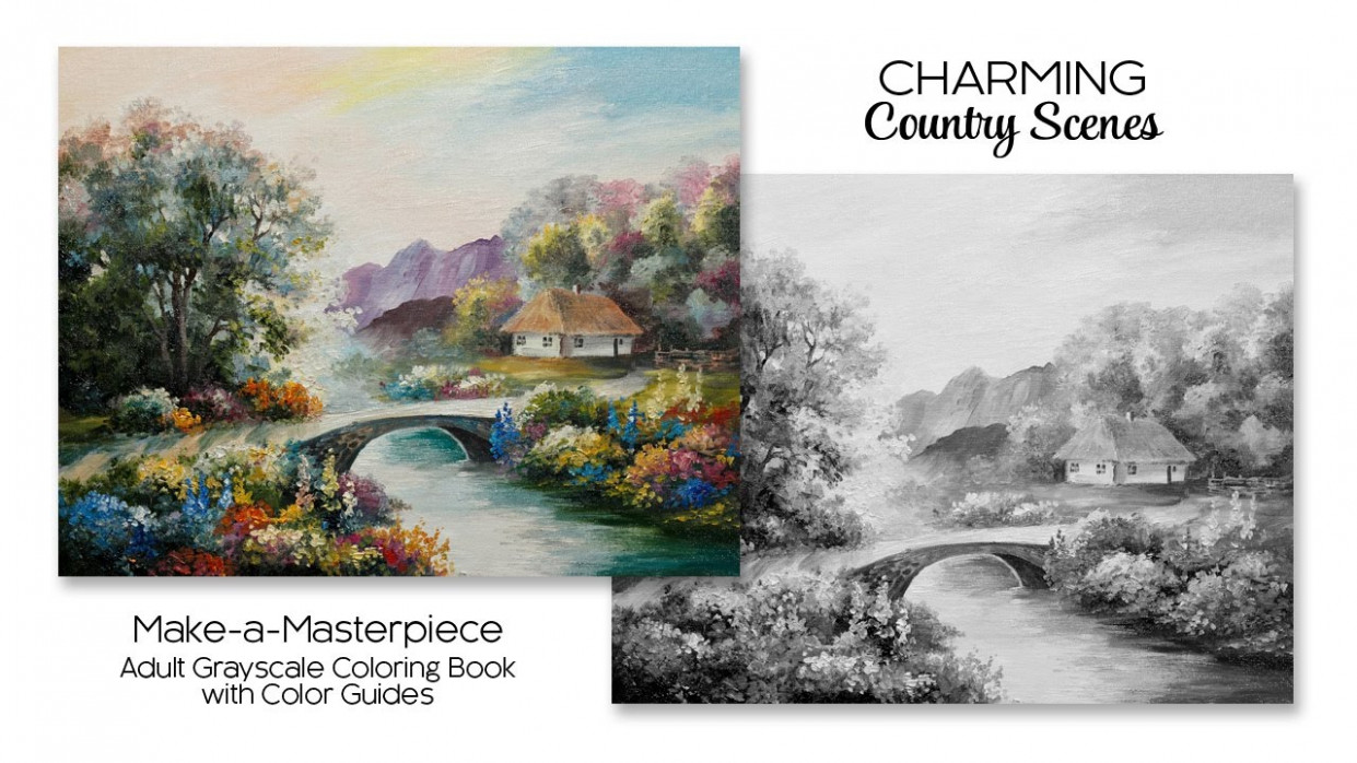 Charming Country Scenes ~ Adult Grayscale Coloring Book with Color ..