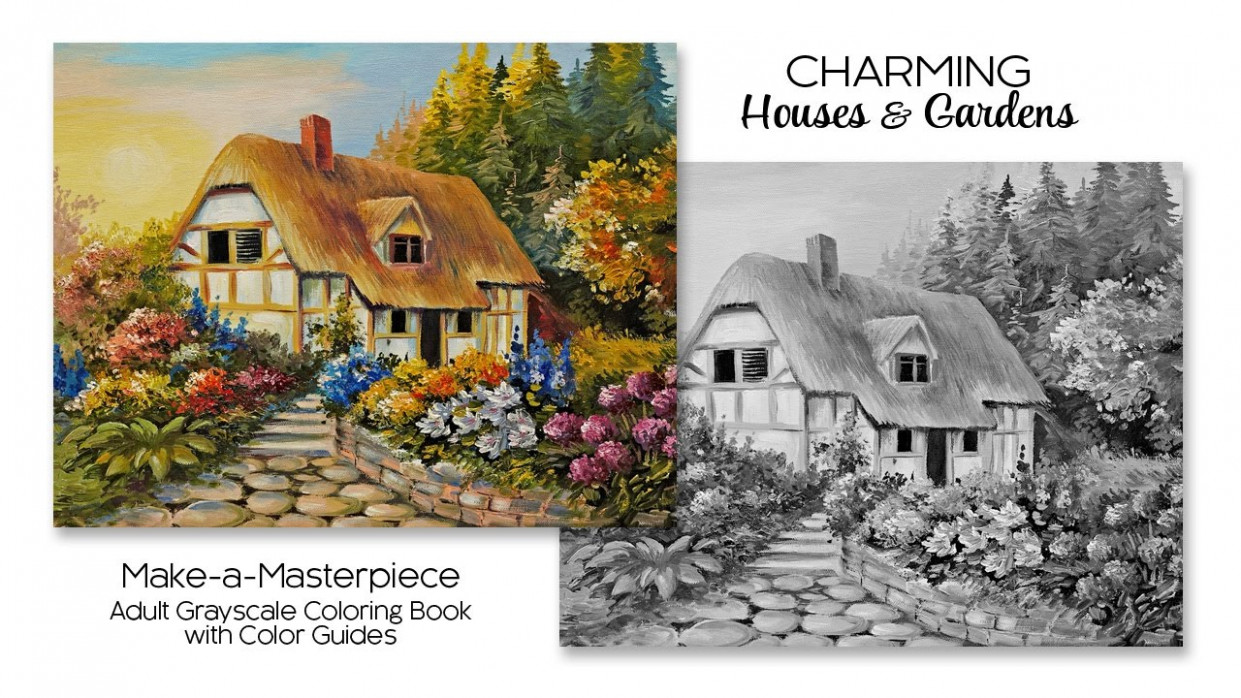Charming Houses  – grayscale coloring book
