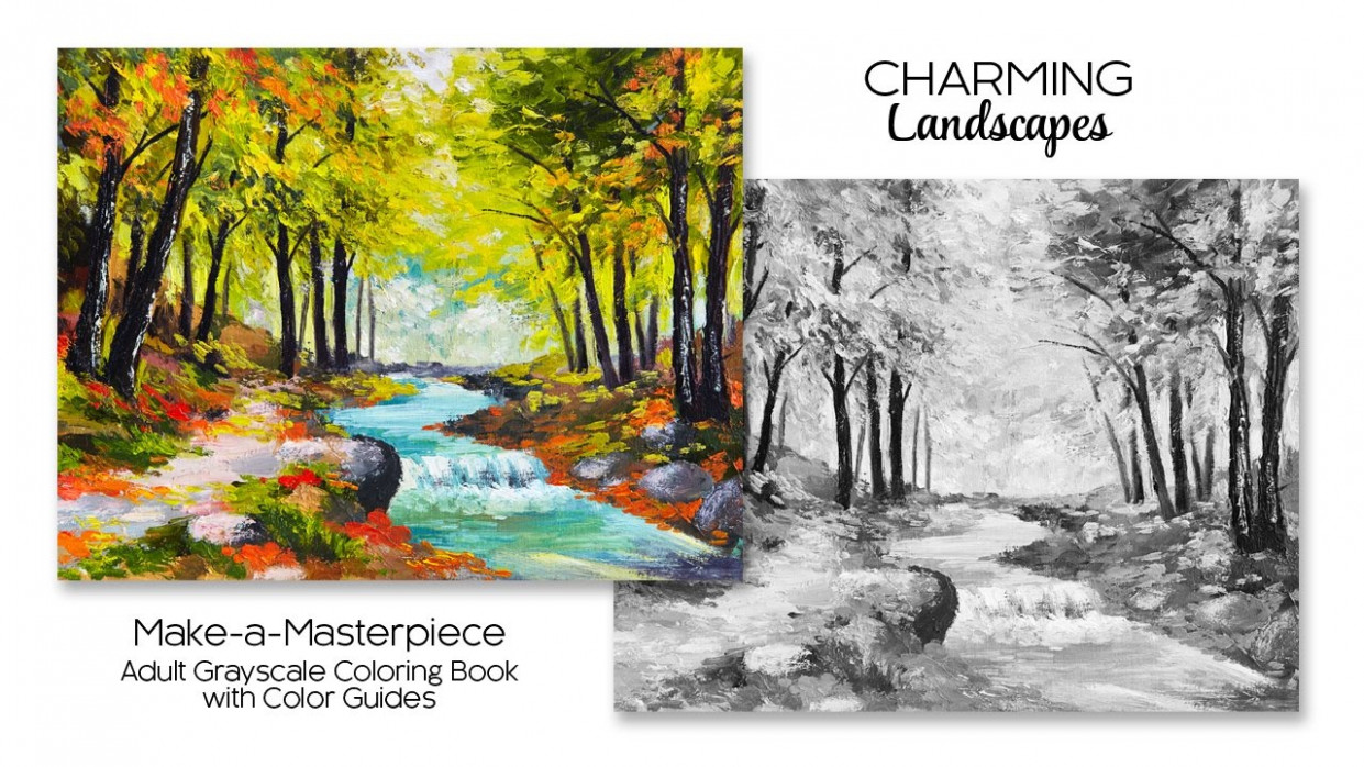 Charming Landscapes ~ Adult Grayscale Coloring Book with Color ...