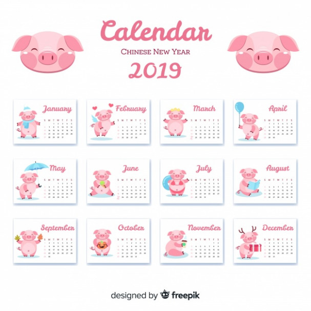 Chinese new year 20 calendar Vector | Free Download – Year 2019 Calendar