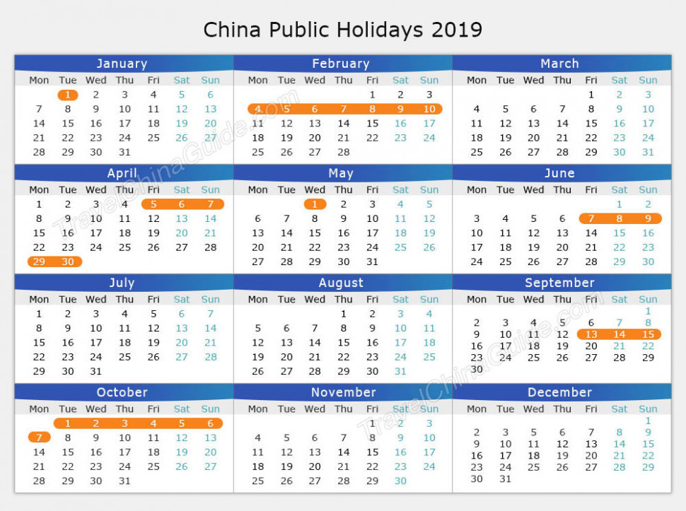 Chinese Public Holiday Calendar 18 / 18 / 18, Schedule