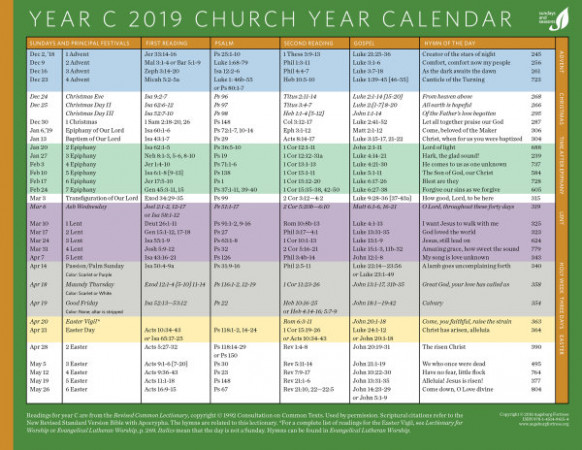 Church Year Calendar 18, Year C – Elca Church Year Calendar 2019