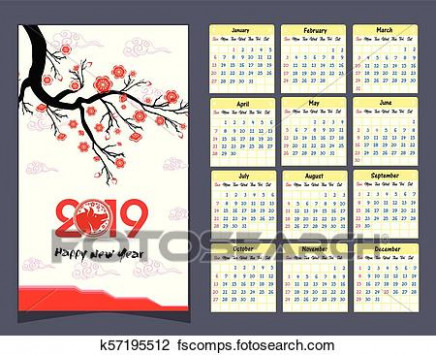 Clipart of Calendar 14 Chinese calendar for happy New Year 14 ..