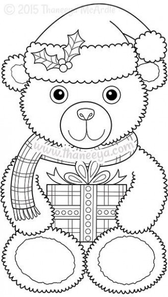Color Christmas Coloring Book Teddy Bear | Templates | Pinterest ...