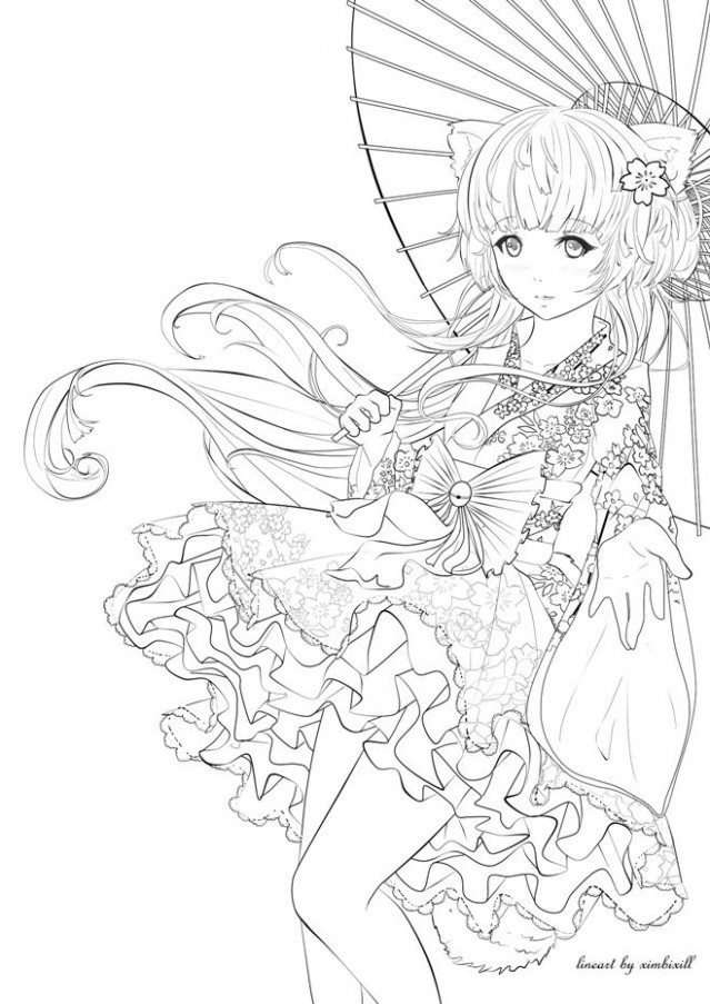 Color me! by ximbixill | Anime, Asian Art  - anime coloring book