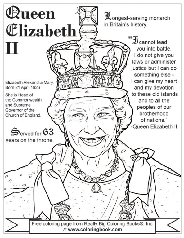Coloring Books | Queen Elizabeth II Free Online Coloring Page