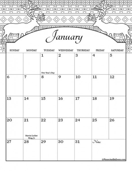Coloring Calendar 14 [US Holidays Included] Free Download ..