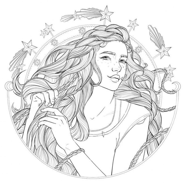 Coloring page of Cress from The Lunar chronicles coloring book ..