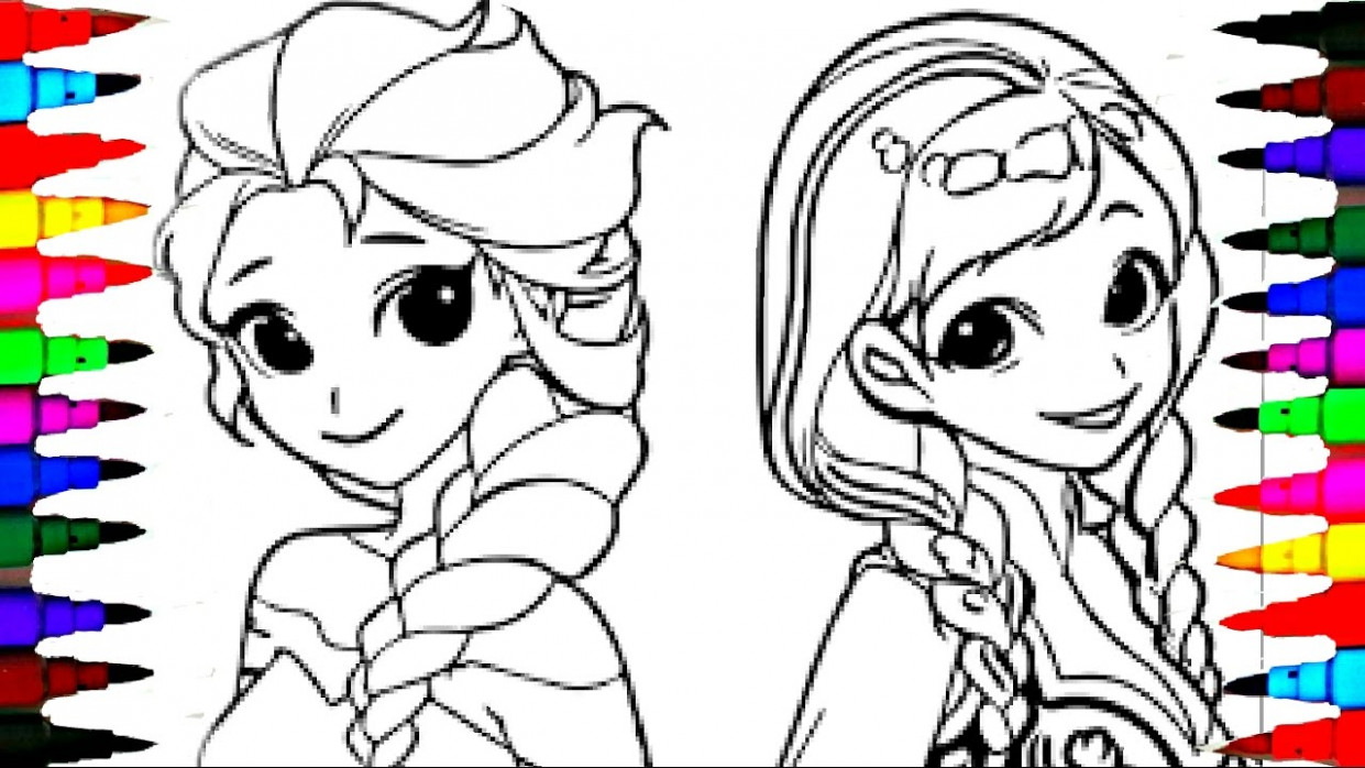 Coloring Pages Disney Frozen Cartoon Elsa and Anna Coloring Book ...