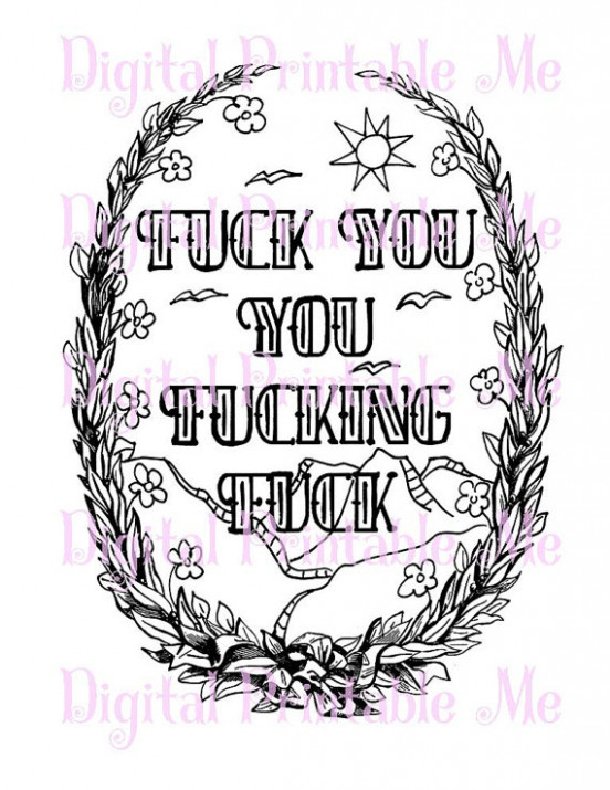 Curse Word Coloring Book Page, Printable, sweary, Download, Swear ..