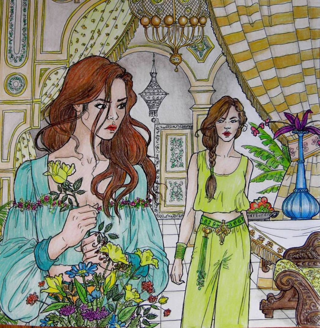 D'être and Morrigan from A Court of Thorns and roses coloring book ..