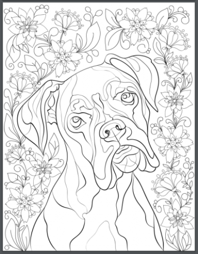 De-stress With Dogs: Downloadable 12 Page Coloring Book for Adults ...