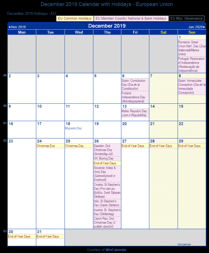 December 17 Calendar with Holidays – European Union and member ..