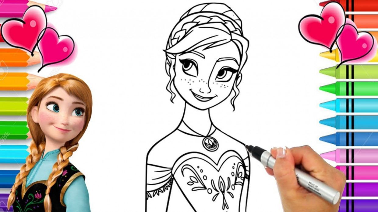 Disney Frozen 18 Anna Coloring Page | Frozen Coloring Book | Anna and ...