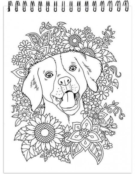 Dog Coloring Book For Adults With Hardback Covers And Spiral Binding ...