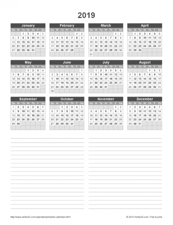 Download a free 17 Yearly Calendar with Notes from Vertex17.com ...