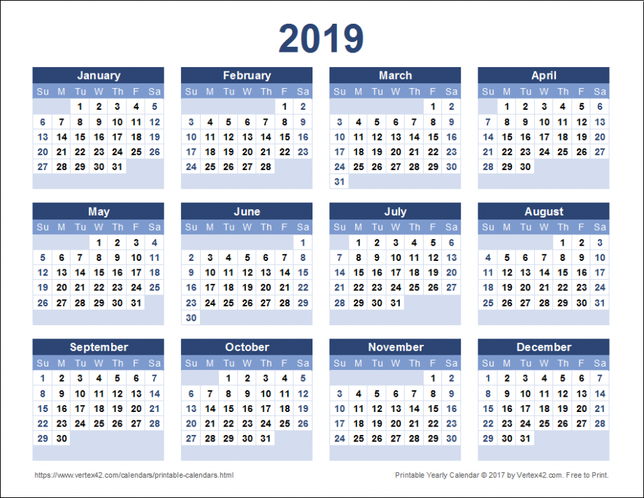 Download a free Printable 19 Yearly Calendar from Vertex19.com ..