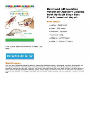 DOWNLOAD Free Saunders Veterinary Anatomy Coloring Book By Baljit ...