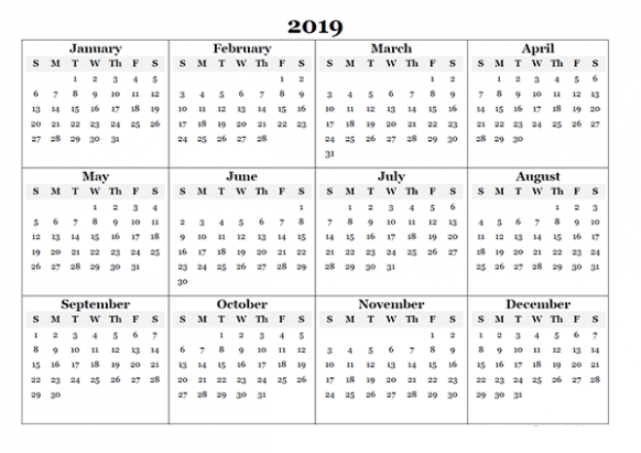 Download Template of Free Blank Annual Calendar 16 – 2019 Whole Year Calendar