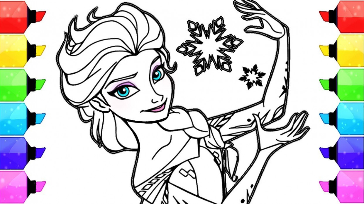 Elsa Frozen Disney Coloring Book Pages | How to Draw and Color Elsa ...