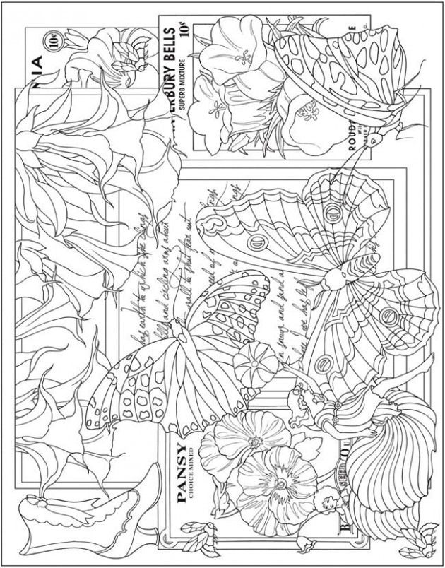 Escapes Collage Art Coloring Book Page Freebie | Dover Publications ..