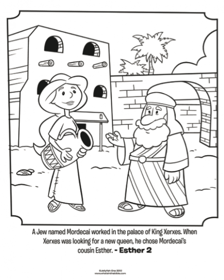 Esther and Mordecai – Bible Coloring Pages | What's in the Bible? – queen esther coloring book