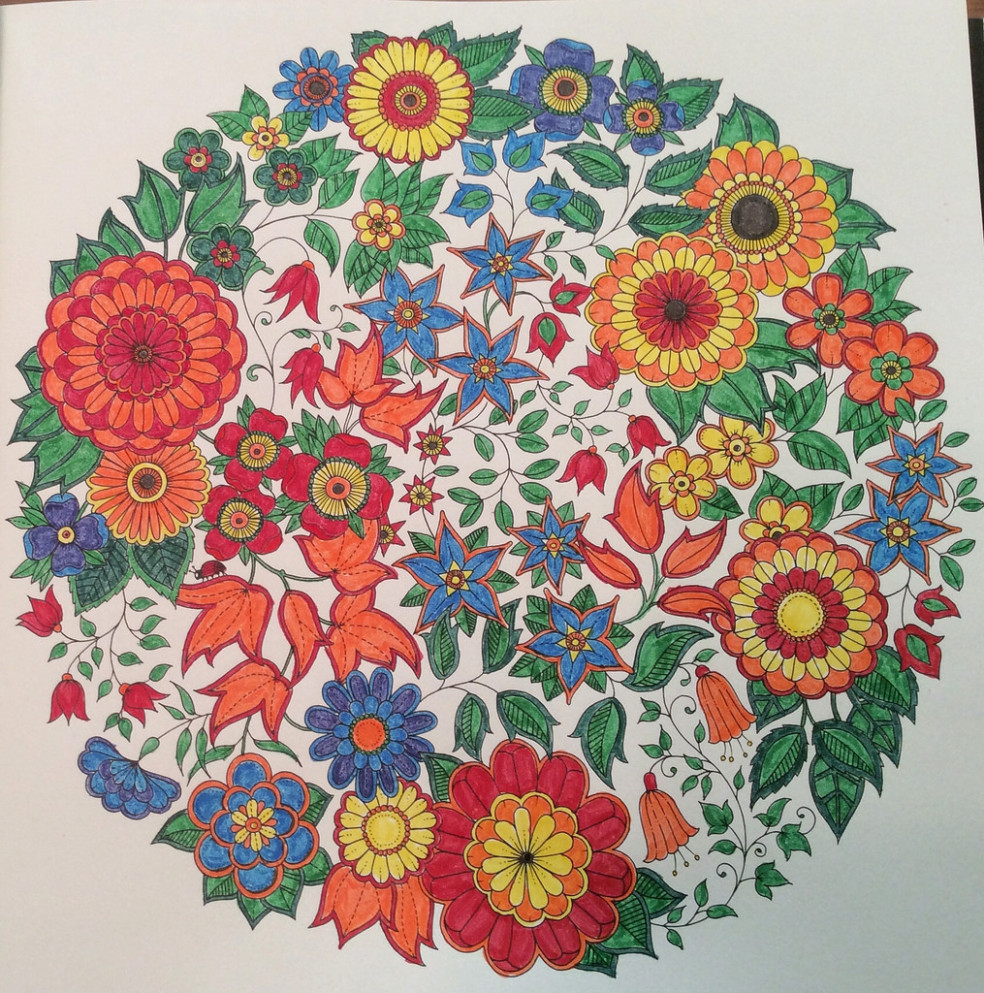 Finished my first page in the Secret Garden coloring book …   Flickr – secret garden coloring book