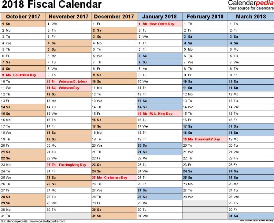Fiscal calendars 14 as free printable PDF templates – Walmart Fiscal Year 2019 Calendar